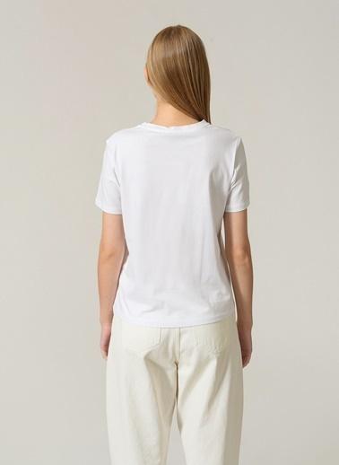 People By Fabrika Kadın Baskılı  Tişört PFKSS21TS0101 Beyaz